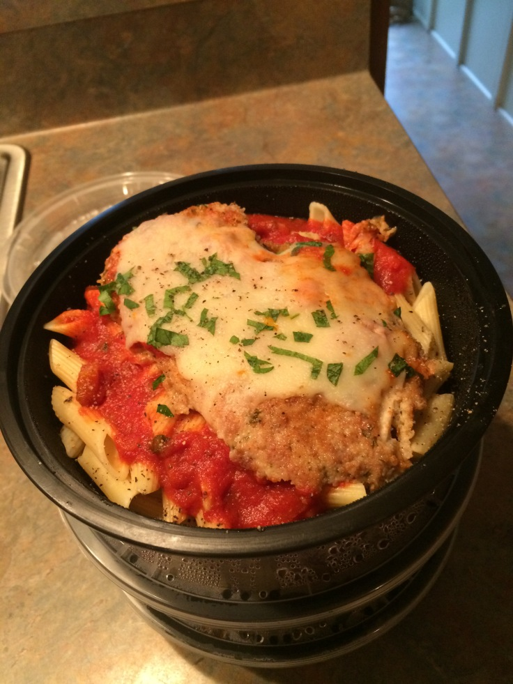 chicken parmesan over penne with red sauce